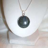 Blue Goldstone round pendant necklace with Sterling Silver plated setting, round pendant on SS necklace