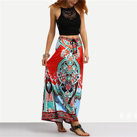 Vintage Boho Ladies Summer Printed Woman New Arrival 2017 Shift Long Skirts Women Tribal Print Tied