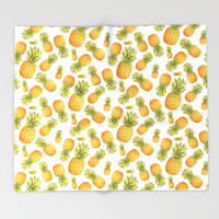 Pineapple Glittering Party Throw Blanket by Octavia Soldani | Society6