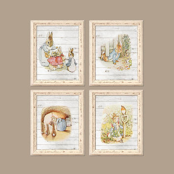 PETER RABBIT Baby Boy Nursery Wall Art Baby BOY Wall Art Baby Nursery Boy Bedroom Wall Art Modern Nursery Rhyme Set of 4