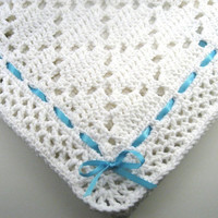 Made to order, you pick colors, Crochet Diamond Lace Baby Afghan, Crochet Baby Blanket