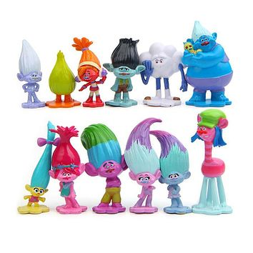 12pcs/lot Trolls Action Figure Poppy Branch toy set 2017 New Movie Trolls figurine bobby Branch dj suki Creek doll Model toy kid