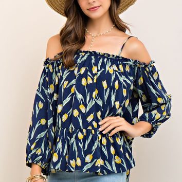 Tulip Print Tiered Off-Shoulder Blouse