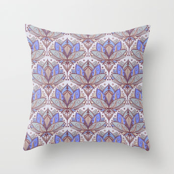Art Deco Lotus Rising 2 - sage grey & purple pattern Throw Pillow by Micklyn
