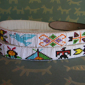 Native American Indian Style Hand Beaded Belt Pictorial Seed Bead Belt Southwest Beading Thunderbird Tribal Belt