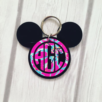 Lilly Pulitzer Inspired Monogrammed Mickey Mouse Keychain - Minnie Mouse Monogrammed Keychain - Minnie Mouse Party Favor