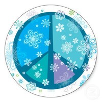 Flowery Peace sign Stickers from Zazzle.com