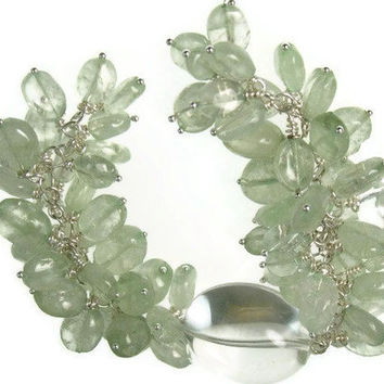 Lush Prehnite and Rock Crystal cluster Handchained by cctexan3