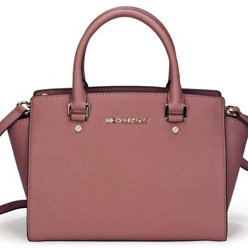 MICHAEL Michael Kors Women's Selma Medium Trapeze Satchel, Dusty Rose