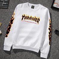 Thrasher flame sweater men and women cotton sweater crew neck Sweater pullovers White + black flame letters