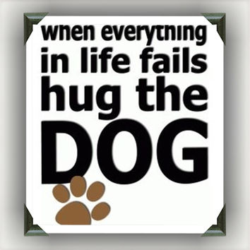 """Hug The Dog   Painted/Decorated 12""""x12"""" Canvases   you pick colors"""