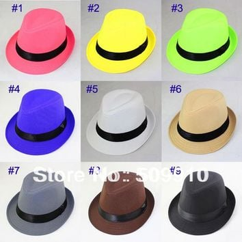 Hot sale Fashion Spring/Autumn Baby Fedora Hat Children Pure Color Jazz cap Kids Top Hat  1pc Sample 9 Colors Free shipping