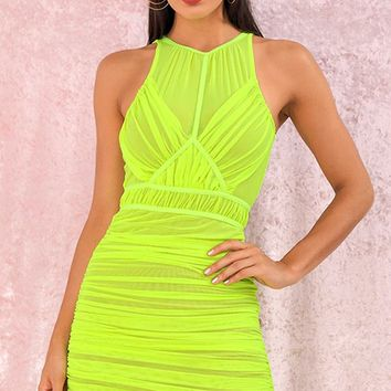 Flashy Attitude Neon Green Sheer Mesh Sleeveless High V Neck Ruched Bodycon Mini Dress