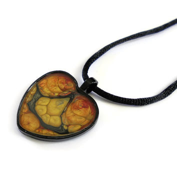 Heart Pendant Necklace hand painted in black, red and metallic gold