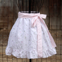 Upcycled White and Floral Half Apron With Pink Ties