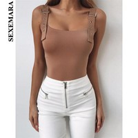 BOOFEENAA Square Neck Backless Metal Buckle Sexy Bodysuit Summer Trendy White Khaki Body Suits for Women Tops 2019 C55-I84