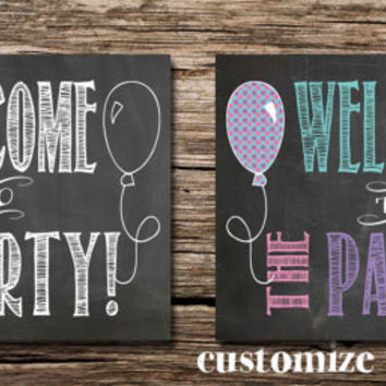 Party signs -Signage- Parking signs - Welcome to the Party! signs - printable posters