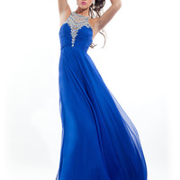 High Neck With Sheer And Beaded Back Prom Dress By Rachel Allan 6980