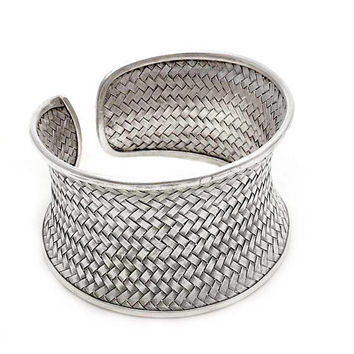 Braided Sterling Silver Statement Boho Cuff Bracelet, Handmade Wide Woven white Silver Ethnic Bangle, Tribal Weave Adjustable Cuff, Gift