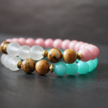 Turquoise beaded bracelet, baby pink bracelet, stackable bracelet, teal stretch bracelet, pink bracelet, gifts for her, gifts under 25