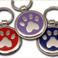 Pet ID Tag - Paw Print Jewelry Tag - Custom engraved cat and dog ID tags. Jewelry that ensures pet safety.