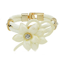 Double Floral Leather Rope Bracelet