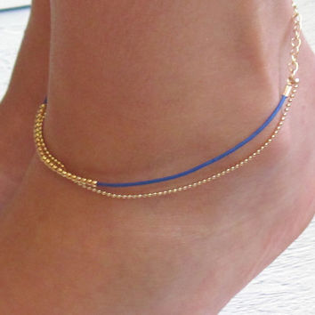Delicate Blue And Gold Anklet - Multistrand Ankle Bracelet - Anklet Double Strand - Colorful Anklet - Beaded Anklet