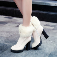 Fur Ankle Boots Zipper Platform High Heels Winter Shoes Woman