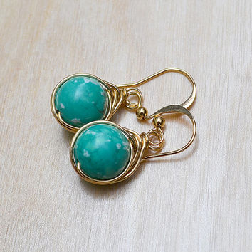 Teal and Gold Toned Earrings, Turquoise Earrings, Herringbone Link Wire Wrapped Stone, Trendy Earrings, Gold and Turquoise