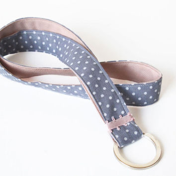 long lanyard handmade keychain gray grey white dotted dots patterned fabric