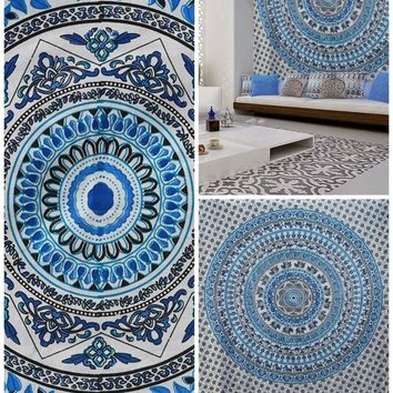 Becca Boho Blue Bohemian Wall Beach Bed Mandala Elephant Tapestry