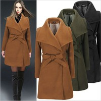 Fashion Pure Color Waist Strap Wool Coat Winter Coat Windbreaker