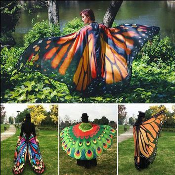 DCCKWQA 2018 Pareo Beach Cover Up Butterfly Wing Cape Bikini Cover Up Swimwear Women Robe De Plage Beach Bathing Suit Cover Up
