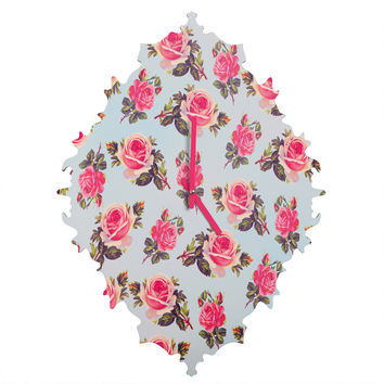 Allyson Johnson Pink Roses Baroque Clock