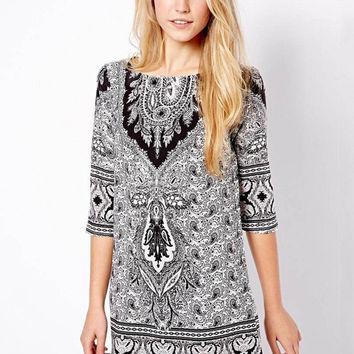 Gray Paisley Pattern Print Half Sleeve A-line Mini Dress