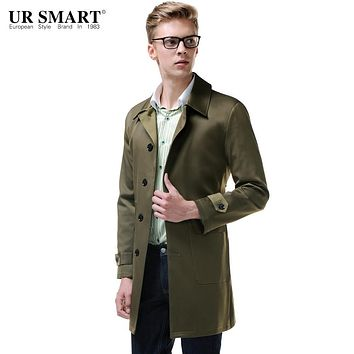URSMARTEuropean classical men long single-breasted patch pocket dust coat olive green male trench coat