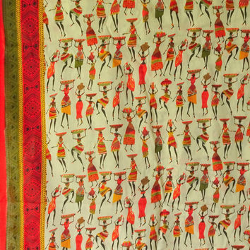 African Fabric printed cotton Ethnic cotton fabric  folk art Indian fabrics women print cotton fabrics