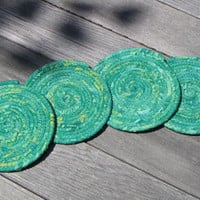 Coiled Fabric Coasters Batik Coasters Set by CentralFabrications