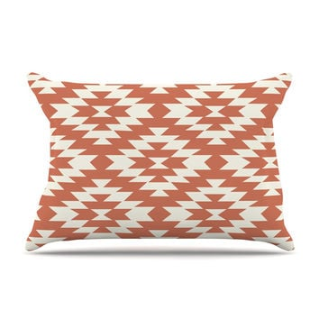 "Amanda Lane ""Southwestern Toasted Coral"" Red Tribal Pillow Case"