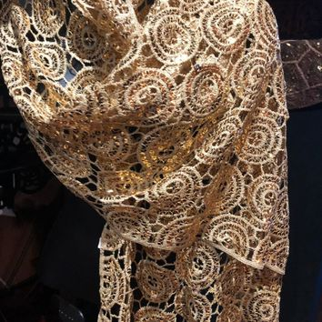 Vitage Styled Sheer gold flower Sequined embroidered wrap Shawl