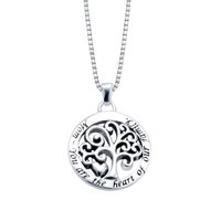 "Sterling Silver ""Mom You Are The Heart Of Our Family"" Reversible Family Tree Pendant Necklace , 18"""