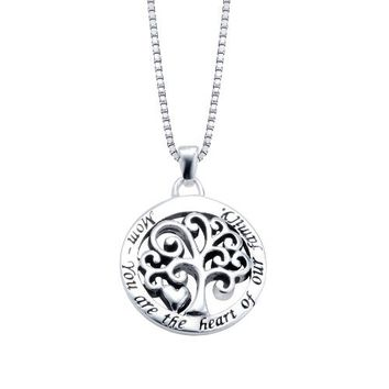 """Sterling Silver """"Mom You Are The Heart Of Our Family"""" Reversible Family Tree Pendant Necklace , 18"""""""