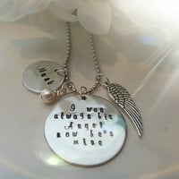 I used to be his angel now he's mine-Necklace-In Memory of Dad Husband Son Custom Name Person Swarovski Sterling Silver Necklace