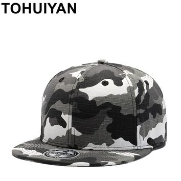 Trendy Winter Jacket TOHUIYAN Mens Camo Cotton Snapback Caps Street Dance Hip Hop Hats Flat Brim Fitted Gorras Baseball Cap Tatctical Adjustable Hats AT_92_12