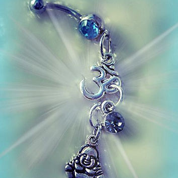 Buddha Belly Ring, Om Belly Ring, Yoga Jewelry, Zen Jewelry, Navel Piercing, Body Jewelry, Ready to ship, Direct Checkout