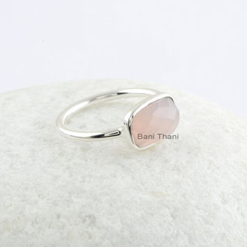 Pink Chalcedony Rectangle Cushion 7X11 mm Sterling Silver Ring, Pink Chalcedony Gemstone Bezel Ring
