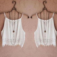 Stylish Hot Sale 2015 Famous Brand White Cropped Women Knitted Loose Crop Tops Casual Strap Knitting Cotton Casual Tank Tops