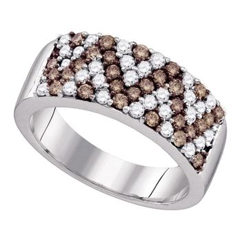 10kt White Gold Womens Round Cognac-brown Color Enhanced Diamond Chevron Band Ring 1.00 Cttw