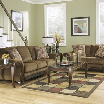Ashley Furniture 38300-38-35 2 pc montgomery collection mocha fabric upholstered sofa and love seat set with rounded arms