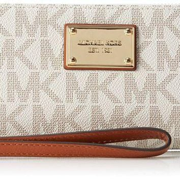 LMFON Michael Kors Beige Black Gold Continental Wallet
